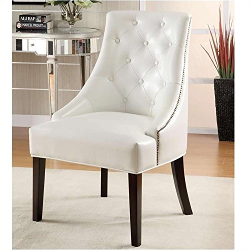 Coaster Leather Like Lounge Chair in White Finish