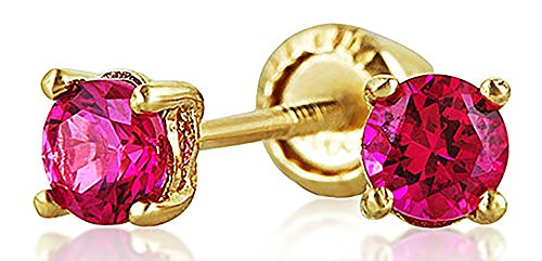 Tiny Cubic Zirconia Red Fuchsia Pink Simulated Ruby CZ Round Solitaire Stud Earrings Real 14K Yellow Gold Screwback