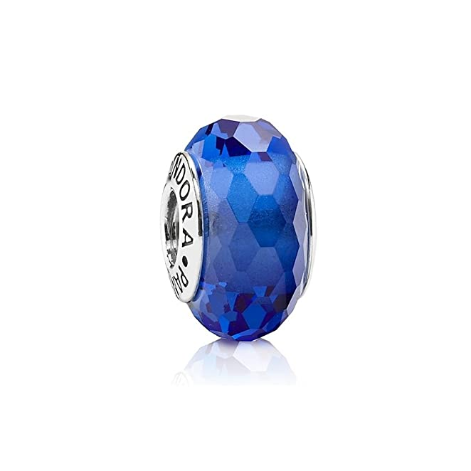 PANDORA Murano Glass Fascinating Blue Charm with Sterling Core 791067