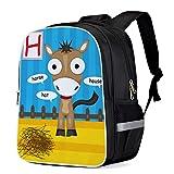 Fashion Elementary Student School Bags- Alphabet Letter H Horse- Durable School Backpacks Outdoor Daypack Travel Packback for Kids Boys Girls