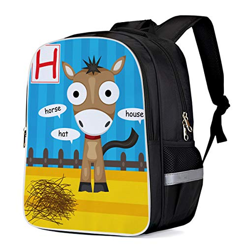 Fashion Elementary Student School Bags- Alphabet Letter H Horse - Durable School Backpacks Outdoor Daypack Travel Packback for Kids Boys Girls