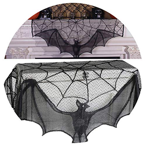 Tablecloths Black Spiderweb Fireplace Mantle Scarf Cover Tablecloth Halloween Party Decor ()