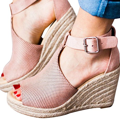 Syktkmx Womens Platform Wedge Sandals Suede Peep-Toe Strap Buckle Mid Heel Espadrille Shoes by Syktkmx