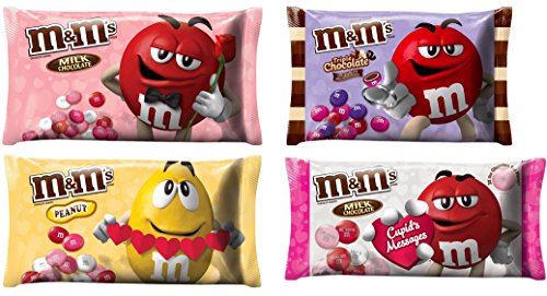 (M&M Solid Milk Chocolate Valentines Day Candy - Plain Peanut Cupids Messsages Triple Chocolate - Holiday MMs Valentine Candies For Home Parties Office School Work Valentines Day Exchange)