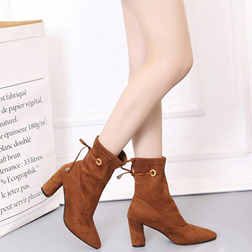 IGEMY Botas de nieve mujer marrón