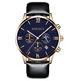 OLMECA Men's Watches Luxury Sports Casual Quartz Analog Waterproof Wrist Watch Genuine Leather Strap Black Color (A Black)