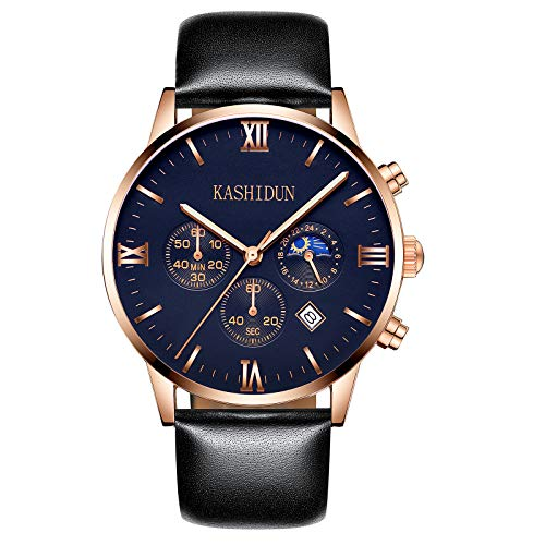 KASHIDUN Men's Watches Luxury Sports Casual Quartz Analog Waterproof Wrist Watch Genuine Leather Strap Black Color