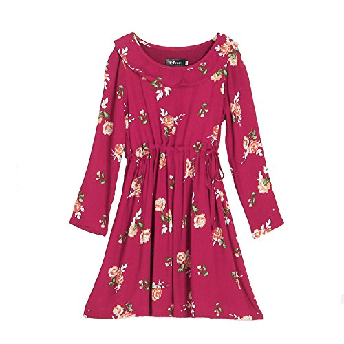Red Print Mom Long PopReal girl Sleeve Dress Floral Daughter Matching Midi and Drawstring pwPxYqBfx