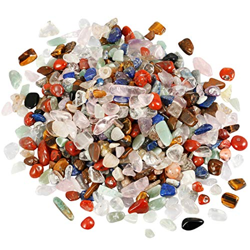 mookaitedecor 1 lb Tumbled Chip Stones Crushed Tumblestone Crystals Healing Home Decoration,Assorted -