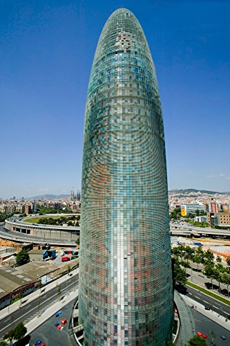 Day view of phallic-shaped Torre Agbar or Agbar Tower in Barcelona, Spain, designed by Jean Nouvel, September 2005 Poster Print by Panoramic Images (36 x (Barcelona Jean)