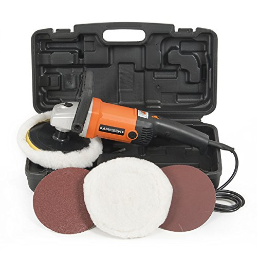"ARKSEN 7"" Electric Car Polisher, Variable Speed, Buffer, Sander, Orange"