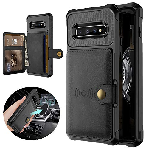 Compatible with Samsung Galaxy S10 Plus Wallet Case for S10 Plus S10+ Magnetic Car Mount Premium Leather Card Slots Case Cover for Samsung S10 Plus 6.4