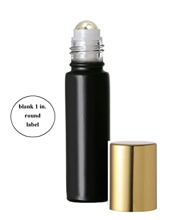 5c0062060f45 Aromatherapy Glass Roll on Bottles, Black Frosted Glass with Metal Steel  Roller Ball and...