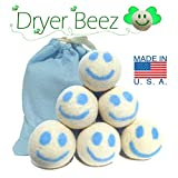 Wool Dryer Balls - Happy Face Designs -Handcrafted in the USA - Sets of 3, 4, 5 or 6 - XL - Extra Large - 100% Natural Premium Wool - Organic, Ecofriendly Baby Care Gift set, Made in America