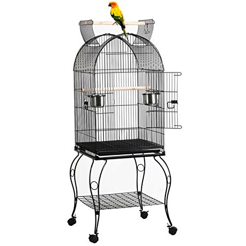"Yaheetech 59"" Rolling Standing Medium Dome Bird Cage Open Top Quaker Parrot Cockatiel Sun Parakeet Green-Cheek Conure Cage with Detachable Stand"