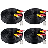 WildHD 4x200ft BNC Cable All-in-One Siamese Video and Power Security Camera Cable Extension Wire Cord with 2 Female Connetors for All HD CCTV DVR Surveillance System (200ft 4pack Cable, Black)