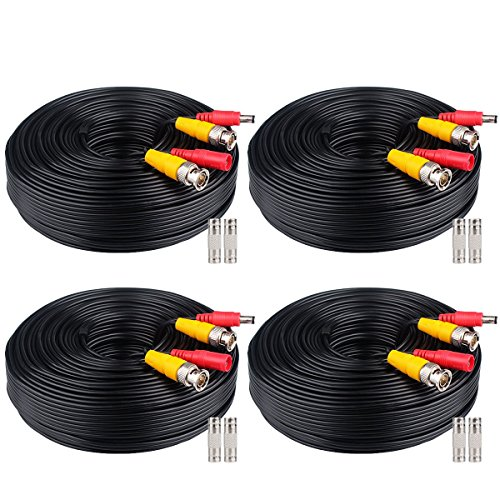 WildHD 4x200ft BNC Cable All-in-One Siamese Video and Power Security Camera Cable Extension Wire Cord with 2 Female Connetors for All Max 5MP HD CCTV DVR Surveillance System (200ft 4pack Cable, Black)