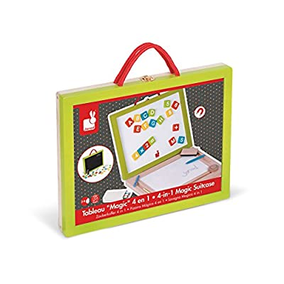 Janod 4-in-1 Magic Magnetic/Blackboard Suitcase: Toys & Games