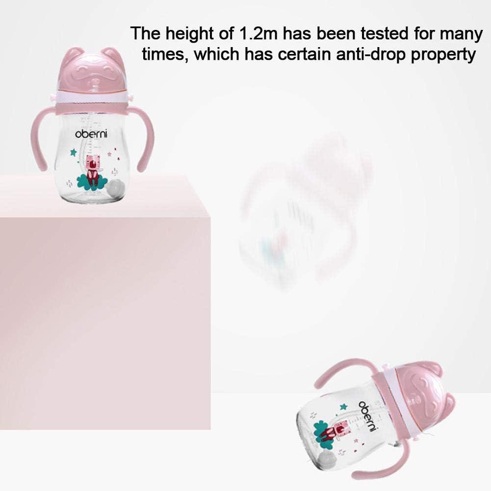 Beste Kinder BPA-freie Glaswasserflasche F/ür Jungen Ungiftiger Medizinischer Grad 270ml Trinkflasche F/ür Kleinkinder Mit Strohhalm globalqi Strohbecher F/ür Kinder Isolierter Stroh-Trinkbecher