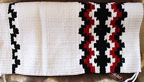 (CHALLENGER 34x36 Horse Wool Western Show Trail Saddle Blanket Rodeo Pad Rug White 3632)
