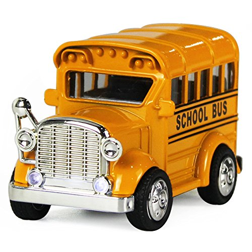 Die Cast Bus - iPlay, iLearn Pull Back Play Toy Vehicles, Model Car Kits, Old Car Models, Classic Diecast Model Cars, Moving Vehicle Toys, School Bus with Lights and Sounds (Yellow) (Cars Bus Toy)