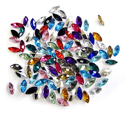 Linpeng 5x10MM Colors Faceted Horse Eye Shape Acrylic Gems-no.HE-1-Approx. 100 Pcs/Pack, 5 mm x 10 mm, Assorted