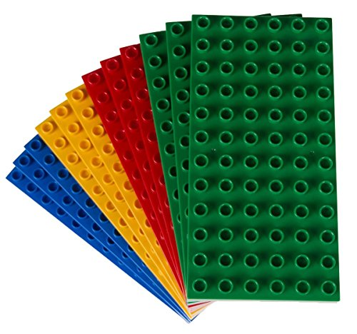 Classic Big Briks Baseplates by Strictly Bricks | Premium 7.5 x 3.75 Large Brick Building Base Plates | 100% Compatible with All Major Large Brick Brands | 12 Stackable Baseplates: Basic Colors