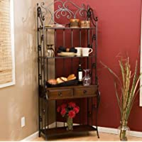 K&A Company Black Wrought Iron and Walnut Wood antique-inspired Finish Bakers Rack Storage 30.75W x 15.5D x 76H inches