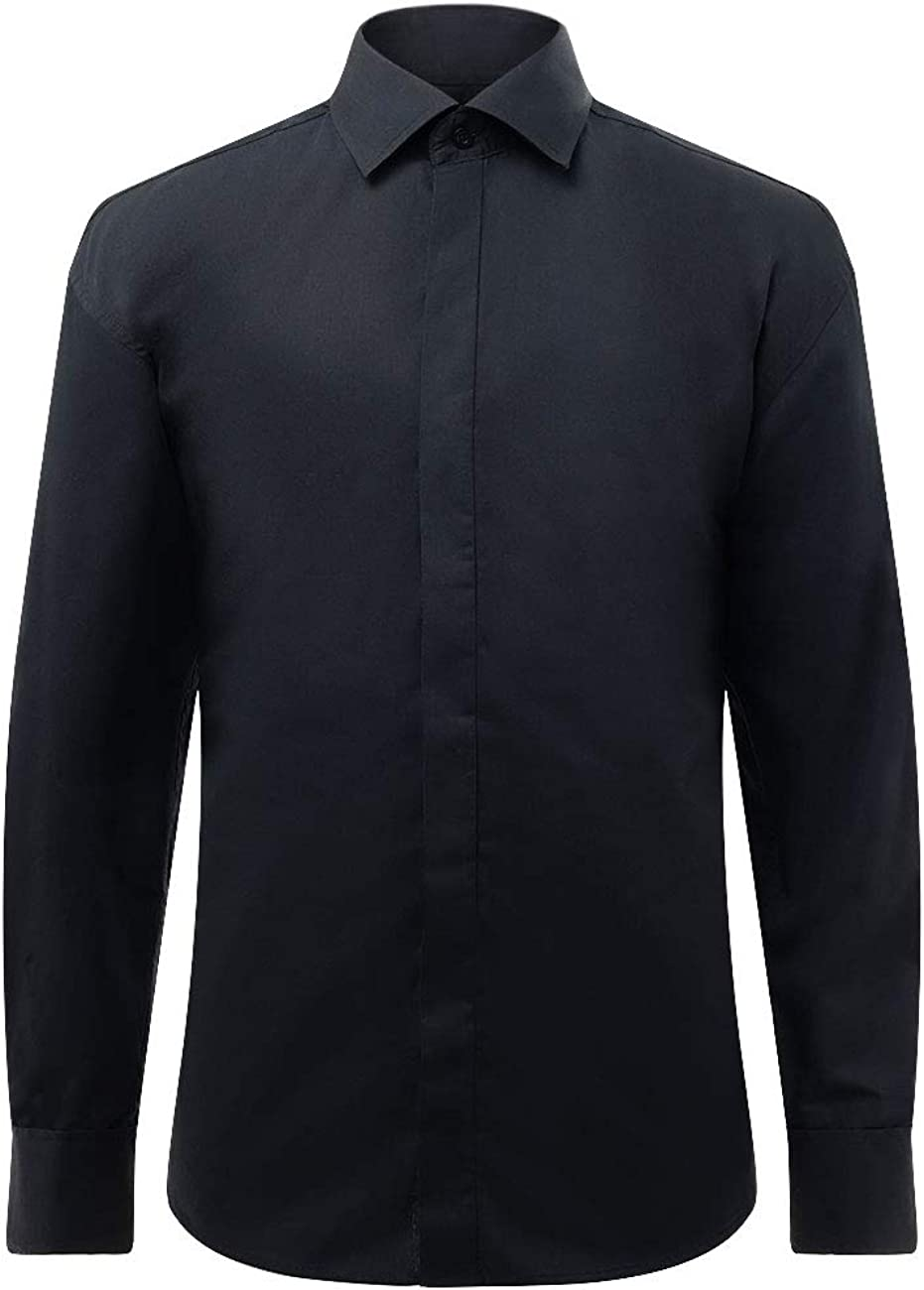 Dobell Camisa de Vestir Negra, Cuello estándar, Delantera Lisa