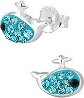 .925 Sterling Silver Hypoallergenic Little Blue Whale Stud Earrings for Girls (Nickel Free)