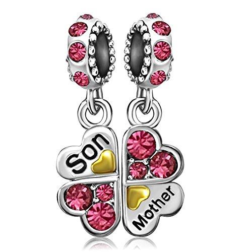 JMQJewelry Mom Clover Mother Son Heart Love Charm October Birthstone Pink Dangel Rhinestone Beads Charms Bracelets