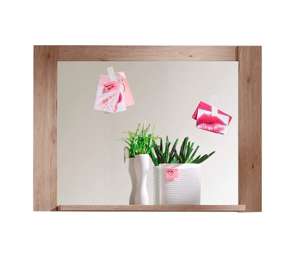 trendteam Perchero Espejo para perchero Espejo de pared Cougar, 96 x 70 x 14 cm en acabado roble claro San Remo con repisa