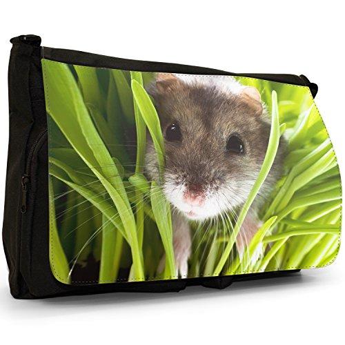 Hamster In Bag Laptop Canvas Messenger School Shoulder Black Grass Large rq8vRr