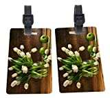 White Tulips In Glass Vase Rustic Wood Green Apples Design Plastic Flexi Luggage Identifier Tags + Strap Closure