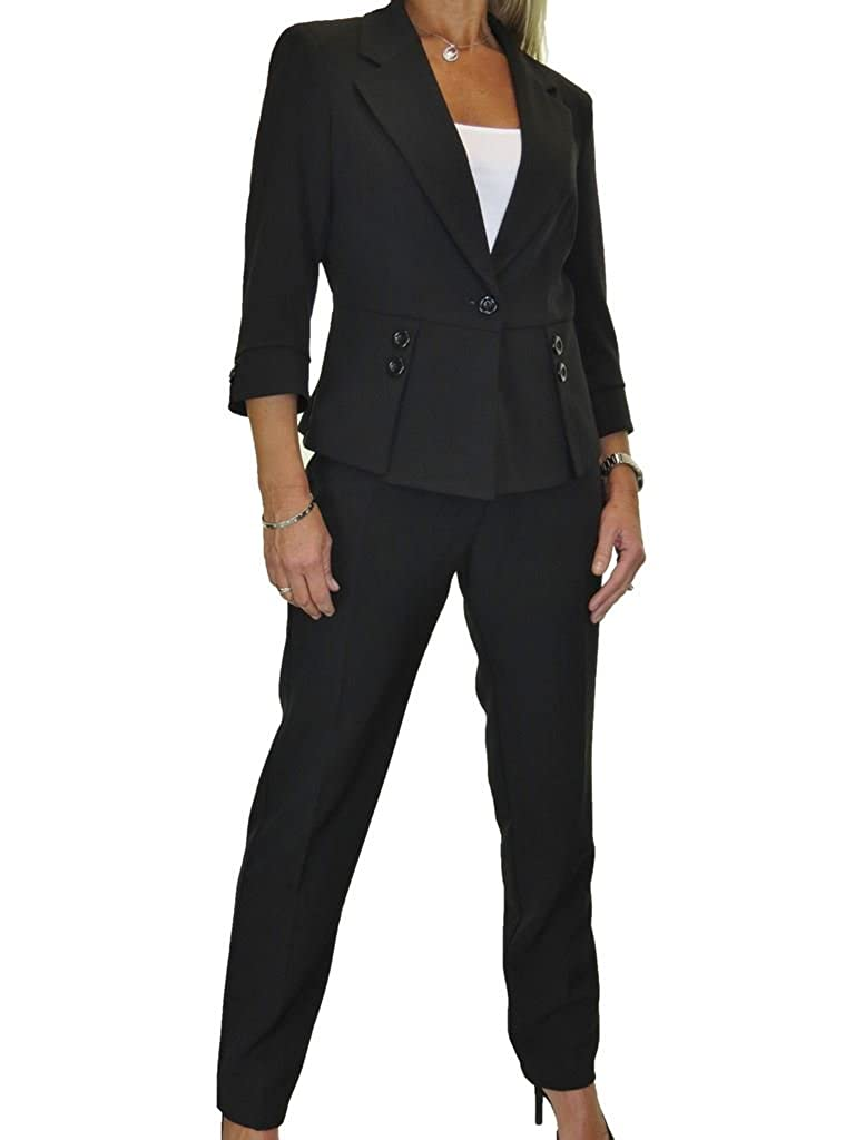 Womens Fully Lined 2 Piece Waistcoat Trouser Suit Washable Office Work 10-20