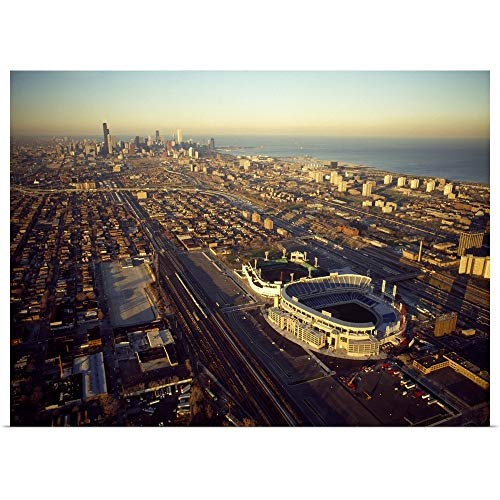 Old Soldier Field Aerial - GREATBIGCANVAS Poster Print Entitled Aerial View of a City, Old Comiskey Park, New Comiskey Park, Chicago, Cook County, Illinois, by 40