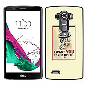 // PHONE CASE GIFT // Duro Estuche protector PC Cáscara Plástico Carcasa Funda Hard Protective Case for LG G4 / Cat Quote Art Poster Drawing Shorthair /