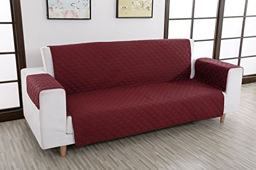 "Reversible Furniture Protector Machine Washable Polyester Anti-Slip Waterproof Sofa Cover 75"" x 110"" (3 seat sofa, Burgundy)"