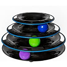 Amazing Cat Roller Toy By Easyology Pets: Super Fun 3-Level Tower Ball & Track Toy Endless Interactive Play & Mental Physical Exercise For Kittens Heavy Duty Lightweight Construction (Black)