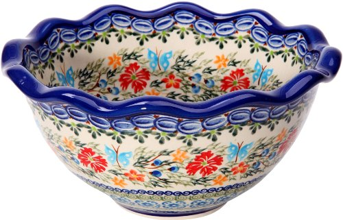 Polish Pottery Ceramika Boleslawiec Bowl Fala Cups, Small, Royal Blue Patterns with Red Cornflower and Blue Butterflies Motif, 5-3/4-Inch