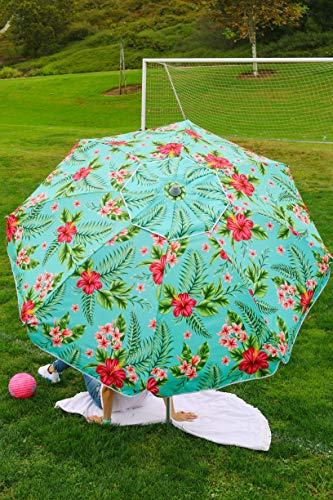 Beach and Grass Umbrella with Matching Travel Carrying Bag - Large 7 Feet 5 Inches Tilting Telescopic Aluminum Pole - Twist Sand/Grass Anchor - Wind Air Vent - Fiberglass Ribs (Floral Hibiscus) - Floral Patio Umbrella
