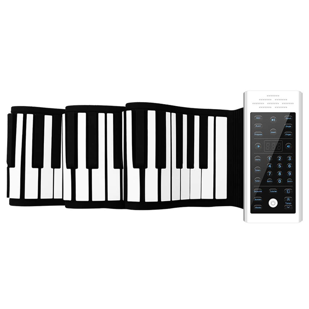 XzkI Piano Hand Roll Keyboard Portable Fold Electronic Waterproof Dust-Proof Beginner Real Touch Thicken 61 Keys 88 Key,White,88keys by XzkI