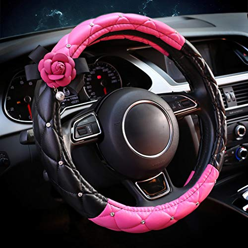 EING Fashion Auto Car Steering Wheel Covers with Crystal Rhinestone & Camellia Flower,Car Interior Accessories for Girls Women Ladies – Rose Red Flower