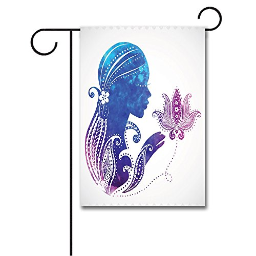 Wondertify Garden Flags Teen Girls Girls Silhouette Flowers on Her Hair Floral Ornaments Meditation Spa Double Sided House Decoration Polyester Garden Flag 18 X 27 ()