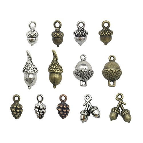 100g Pine Cone Acorn Charms Collection - Small Silver Bronze Copper Colors Metal Alloy Pendants (Acorn Mini Pendant)