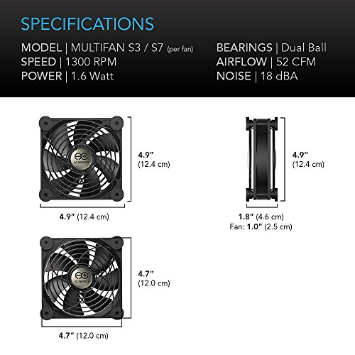 AC Infinity MULTIFAN S7, Quiet Dual 120mm USB Fan for Receiver DVR Playstation Xbox Computer Cabinet Cooling by AC Infinity (Image #6)'
