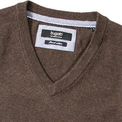 bugatti Herren Pullover mit V-Ausschnitt Bristol Baumwolle Sweater Unifarben, Größe: XXL, Farbe: Braun