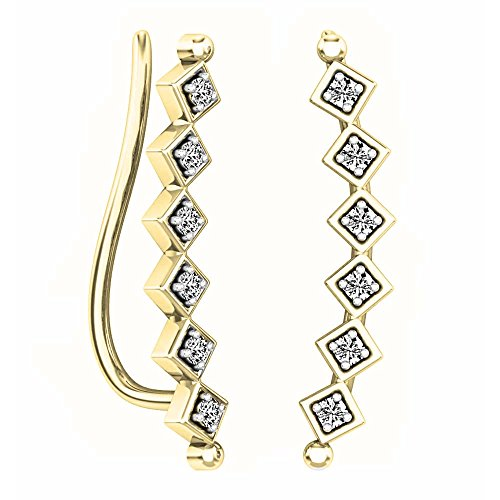 0.15 Carat (ctw) 14K Yellow Gold Round Cut White Diamond Ladies Sweep Up Square Ear Climber Earrings by DazzlingRock Collection