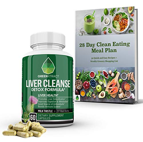 Liver Cleanse Detox & Repair Formula - Natural Herbal Support Supplement : Milk Thistle Extract, Silymarin Beet Artichoke Dandelion Chicory & Burdock Root Turmeric Ginger Celery Seed & More - GX USA