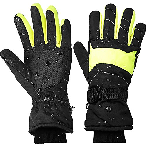 Ski Gloves for Men and Women Waterproof Windproof Snow Skiing Snowboarding Snowmobile Gloves with Non-slip and wear-resistant for Winter outdoors (M, black&yellow)